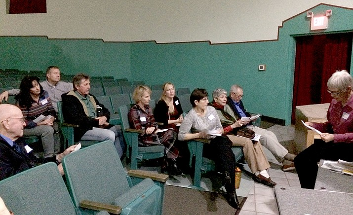 """Rosemary Agneesens of Prescott Education Advocacy Council, right, discusses some of the questions viewers turned in after watching the documentary, """"Backpack Full of Cash,"""" shown Monday, Feb. 5 in Prescott.  (Sue Tone/Courier)"""