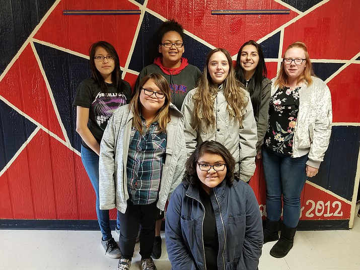 Holbrook High School Upward Bound math and science participants from left, back row: Meredith Huskey, Jovon Boling, Hailey Guttery and Abigail Hamilton. Middle row, from left: Abbie Harmon, Whitney Apodaca. Kneeling in front: Meghan Little. Not pictured — Tamika Begay and Georgia Benally.