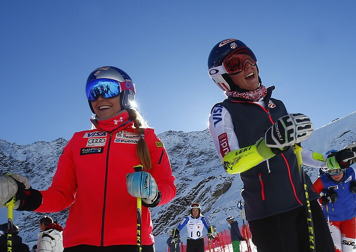 In this Friday, Oct. 23, 2015, file photo, Lindsey Vonn, of the United States, left, and teammate Mikaela Shiffrin stand at the finish area at the Rettenbach glacier in Soelden, Austria. (Giovanni Auletta/AP, File)