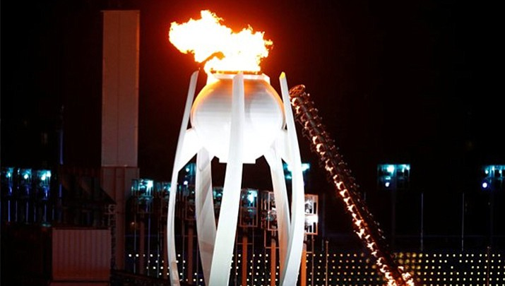 XXIII Winter Olimpic Games Cauldron during a test. (Corriere Della Sera)