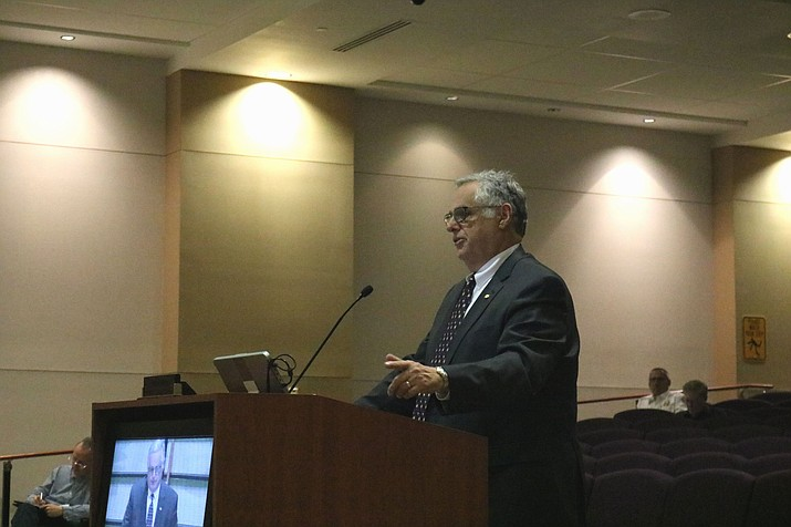 Interim City Manager Jim Bacon addresses City Council at a regularly scheduled meeting Tuesday.