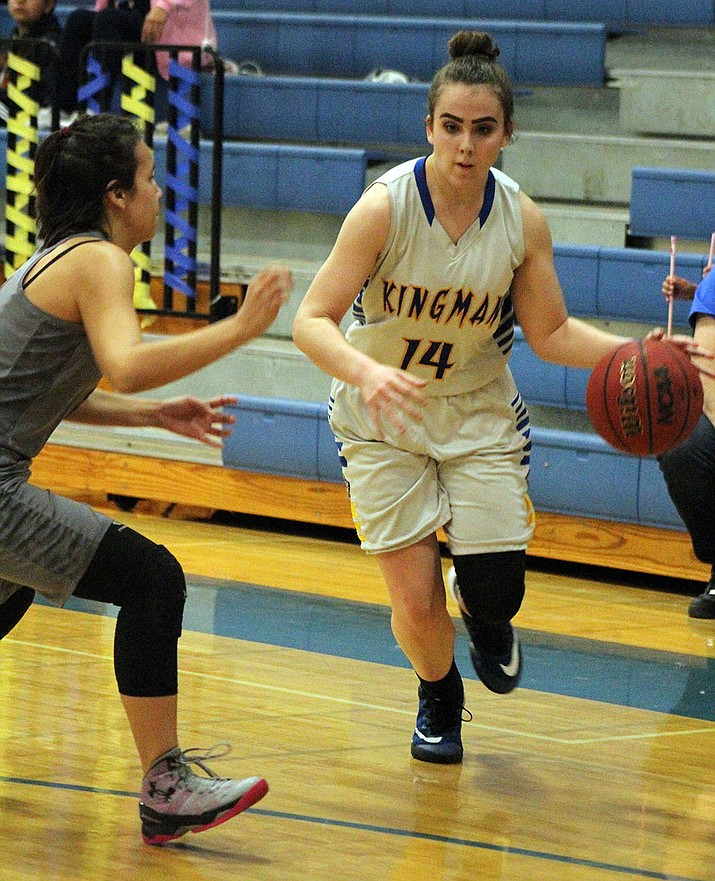 Kingman High's Courtney Mossor scored 15 of her 17 points in the second half of a win over No. 31 ranked Odyssey Institute on Wednesday.
