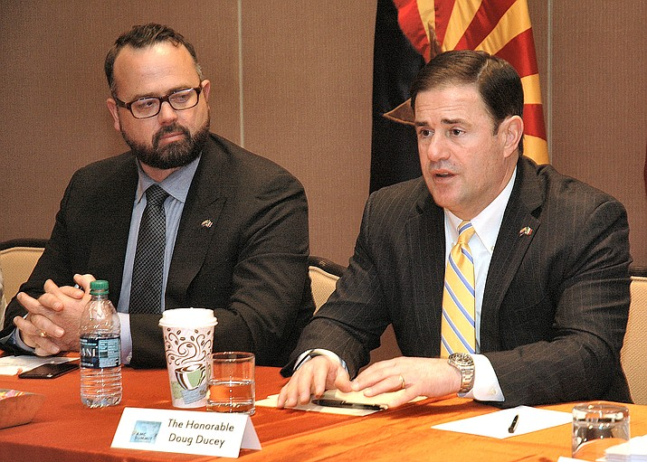 Kirk Adams, the governor's chief of staff, and Arizona governor Doug Ducey. (Howard Fischer/Capital News Services)