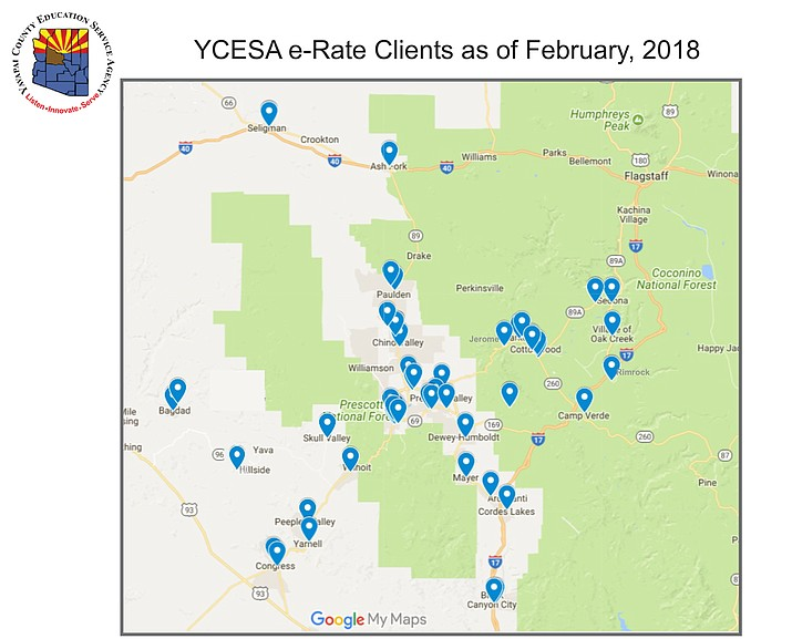 Yavapai County Education Services Agency e-Rate Clients as of February, 2018, a program to help improve broadband capacity at school libraries across the county.