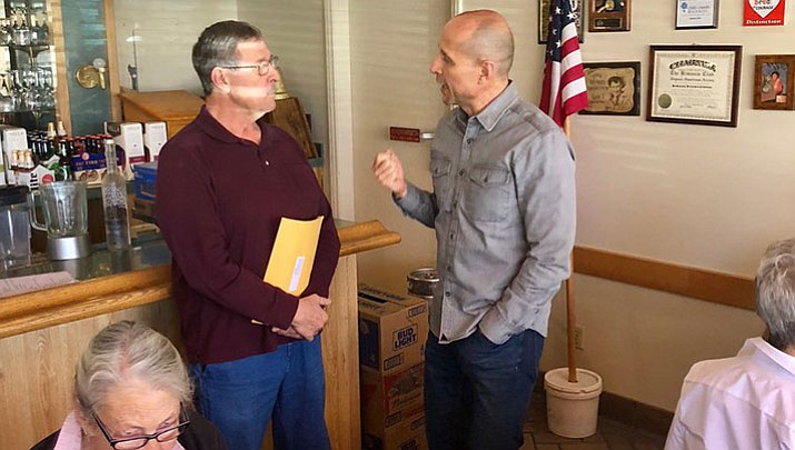 Gubernatorial candidate David Garcia, right, talks with those in attendance at the Mohave County Democrats brunch Sunday. (Courtesy Photo)