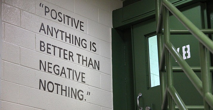 An encouraging quote painted on the wall inside Yavapai County jail's mental health unit. (Max Efrein/Courier)