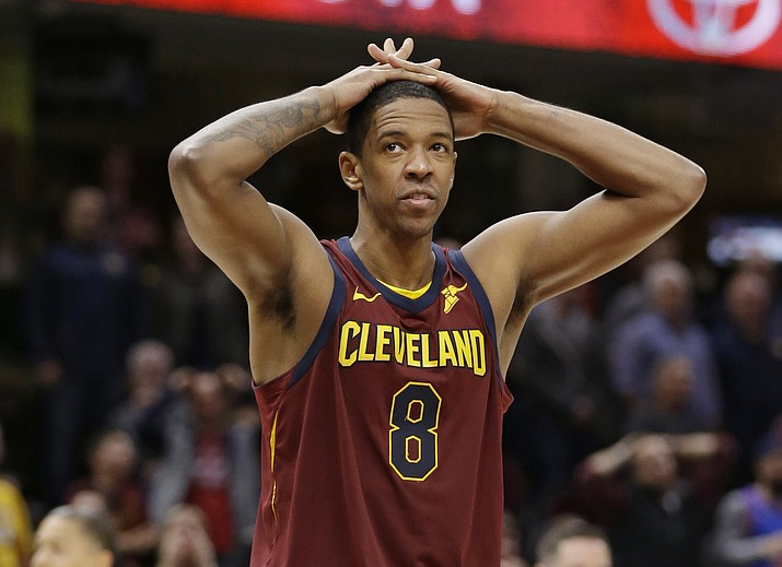 In this Nov. 5, 2017, file photo, Cleveland Cavaliers' Channing Frye reacts during an NBA basketball game against the Atlanta Hawks in Cleveland. The former Phoenix Suns forward was traded to Los Angeles on Thursday, Feb. 8, 2018. (Tony Dejak/AP, File)