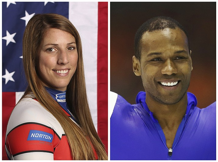 This combination of images shows United States' athletes Erin Hamlin, left, and Shani Davis. (AP Photos, File)