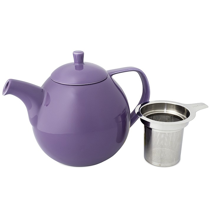 This undated photo, provided by Good Life Tea, shows one of their round, ceramic teapots with a loose-tea infuser. This sturdy teapot with a simple design comes in  mandarin, lime, turquoise, purple and blue. (Good Life Tea via AP)