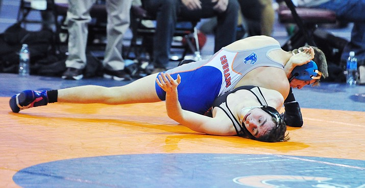 Chino Valley's J.C. Mortensen won his match during the first round of the Division III State Championships on Friday, Feb. 9, 2018, in Prescott Valley. (Les Stukenberg/Courier)