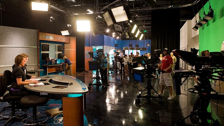 The busy studio that hosts Cronkite News at Arizona State University.