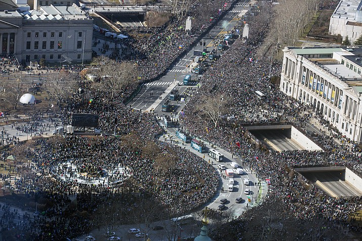 The Philadelphia Eagles Super Bowl victory parade moves along the Benjamin Franklin Parkway, Thursday, Feb. 8, 2018, in Philadelphia. The Eagles beat the New England Patriots 41-33 in Super Bowl 52. (Jessica Griffin/The Philadelphia Inquirer via AP)