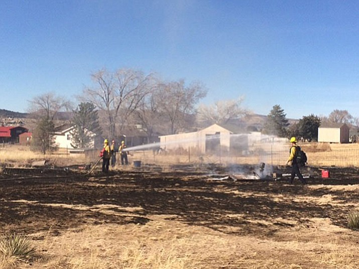 A wildland fire in Chino Valley burned about a third of an acre of grassland before Central Arizona Fire and Medical Authority (CAFMA) crews were able to put it out Thursday, Feb. 8. (Rob Zazueta, Central Arizona Fire and Medical Authority/Courtesy)