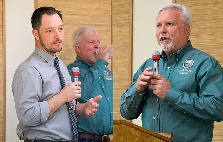 Cottonwood MAyor Tim Elinski and District 2 County Supervisor Randy Garrison answer questions Thursday evening at the Verde Village Property Owners Association Clubhouse forum regarding the topic of annexation. VVN/Halie Chavez)