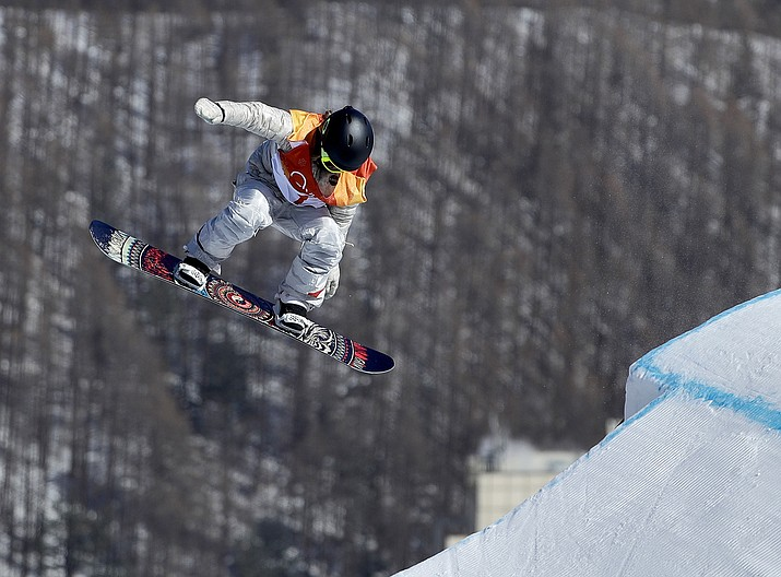Jamie Anderson, of the United States, jumps during the women's slopestyle final at Phoenix Snow Park at the 2018 Winter Olympics in Pyeongchang, South Korea, Monday, Feb. 12. (Gregory Bull/AP)