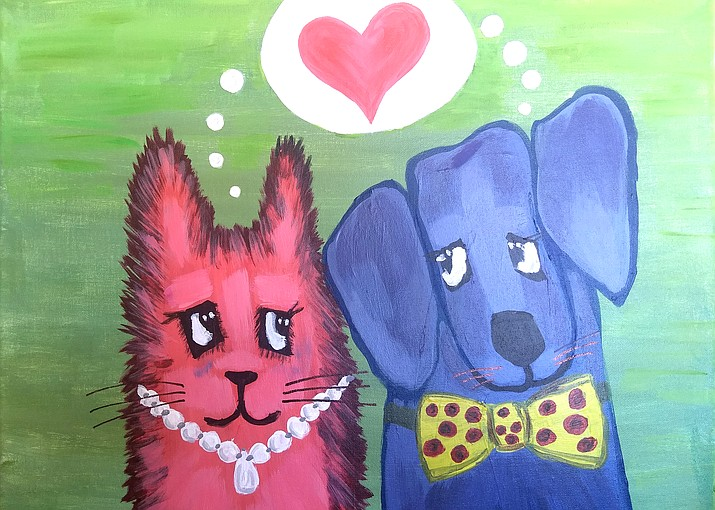 You can create your version of this darling cat, dog, and Valentine's heart painting at one of the three 'Paint-N-Party' events this weekend. (Painting by Denise M. Kelly)