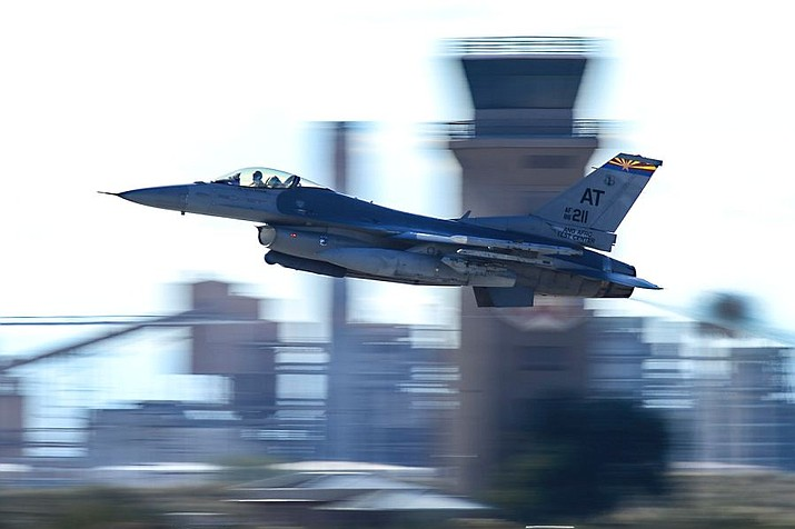 In this file photo an F-16 Fighting Falcon assigned to the Air National Guard Air Force Reserve Test Center takes off from Davis-Monthan Air Force Base, Ariz., Jan. 19, 2017. A similar F-16 jet based out of the Arizona Air National Guard's 162nd Wing in Tucson landed safely at a Phoenix airport after striking a cable. (Nathan H. Barbour, U.S. Air Force)