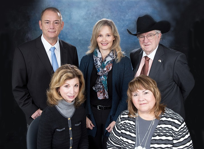Members of the Yavapai College District Governing Board, from left, Steve Irwin, Dr. Patricia McCarver, Ray Sigafoos, Dr. Connie Harris and Deb McCasland. (Photo courtesy of Yavapai College)