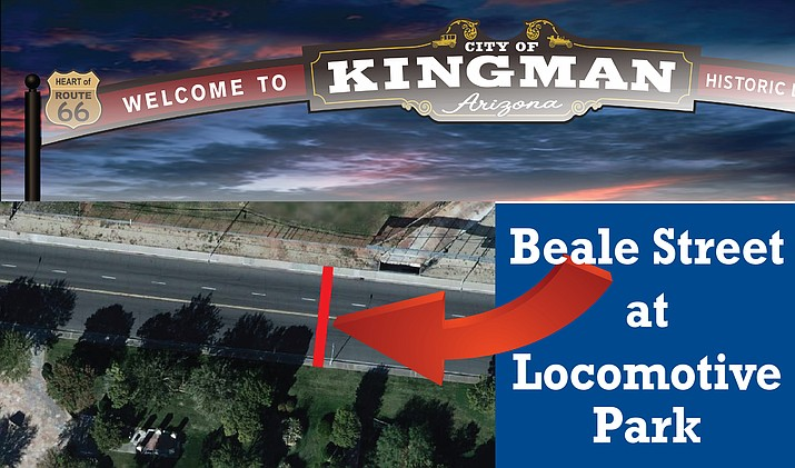 The Beale Street Gateway Arch will be located near the Locomotive Park on West Beale Street.