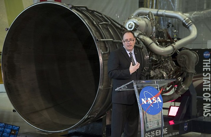 In his image provided by NASA, acting NASA Administrator Robert Lightfoot discusses the fiscal year 2019 budget proposal during a State of NASA address, Monday, Feb. 12, 2018, at NASA's Marshall Space Flight Center in Huntsville, Ala. (Bill Ingalls/NASA)