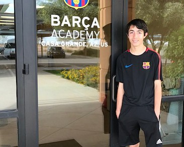 Prescott resident Josh Daiutolo stands outside Barca Academy headquarters in Casa Grande. Daiutolo was accepted into the soccer academy for the 2018-19 school year. (AYSO/Courtesy)