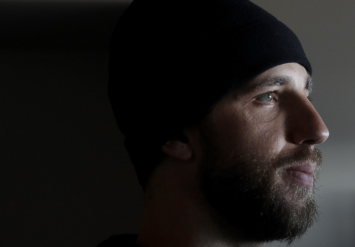 In this Feb. 9, 2018 photo, San Francisco Giants pitcher Madison Bumgarner is interviewed during the team's media day in San Francisco. Bumgarner is in the best shape of his life ready for a bounce-back season after a most forgettable one for San Francisco's big lefty ace. (Jeff Chiu/AP)