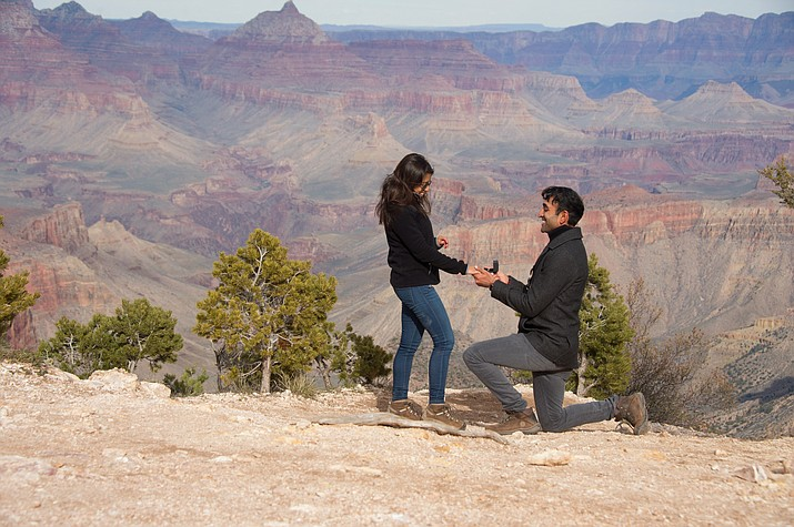 Terri Attridge captures the moment between two visitors who decided to get engaged on the South Rim of the Grand Canyon this month. (Terri Attridge)