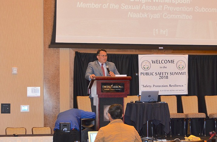 Council Delegate Dwight Witherspoon speaks at the 2018 Public Safety Summit at Twin Arrows Casino Resort in Leupp, Arizona Jan. 29. (Submitted photo)
