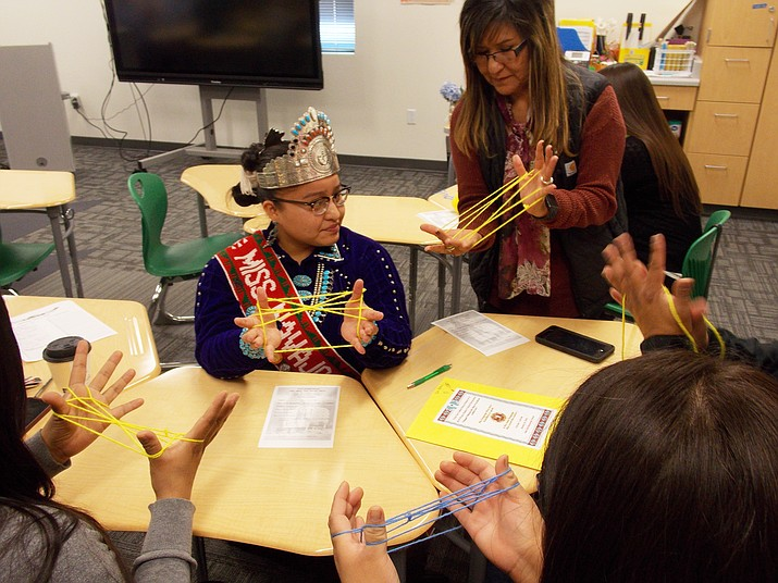 Miss Navajo 2018 Crystal Littleben was the guest speaker at the recent Tuba City Unified School Distrit cultural symposium day held at the new Tuba City Elementary School. Littleben also gave four separate workshop session on Navajo finger weaving. Rosanda Suetopka/NHO