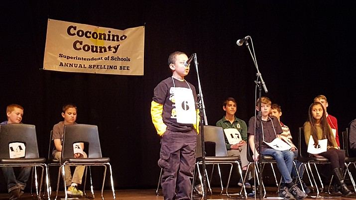 Izzy Rushing participates in the Coconino County Spelling Bee. Rushing placed third in the event Feb. 11.  (Submitted photo)