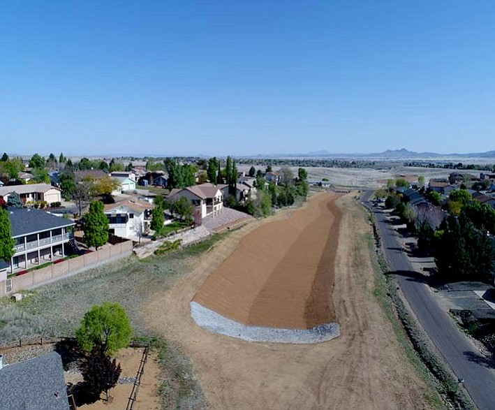 This drone photo taken Jan. 9 shows Phases 1 and 2 of the Viewpoint Stormwater Channel Improvement project. (Town of Prescott Valley/Courtesy)