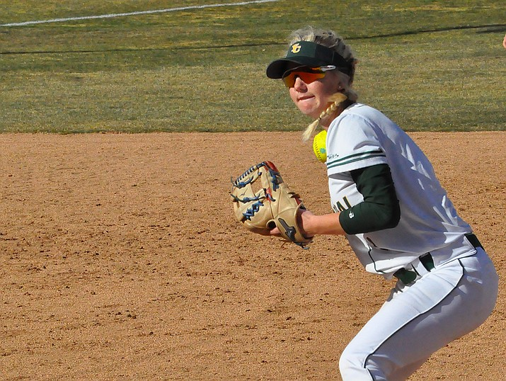 Yavapai College infielder Shelby Hotchkiss (13) gets ready to throw to first base as the Roughriders host Pima Community College on Saturday, Feb. 10, 2018, in Prescott. Hotchkiss had three hits, including a home run, and two RBIs in a 10-0 win over Glendale Community College on Tuesday, Feb. 13, 2018. (YC Athletics/Courtesy)