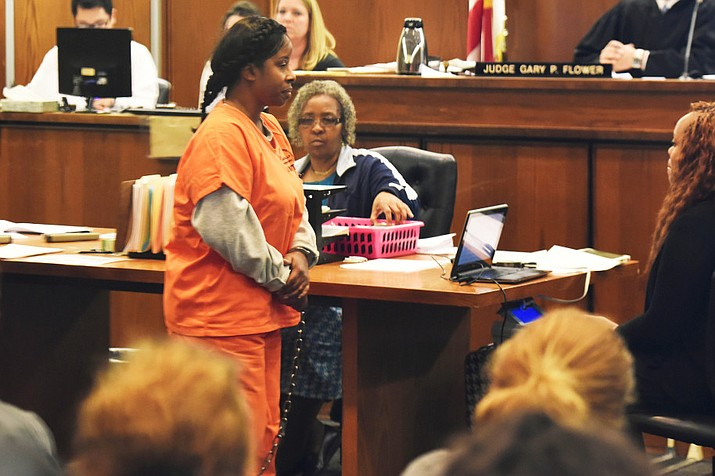 Gloria Williams, the suspect in the kidnapping of Kamiyah Mobley, later known as Alexis Manigo, 18 years ago, in court in Jacksonville, Fla., on Wednesday. (Bob Self/The Florida Times-Union, via Associated Press)