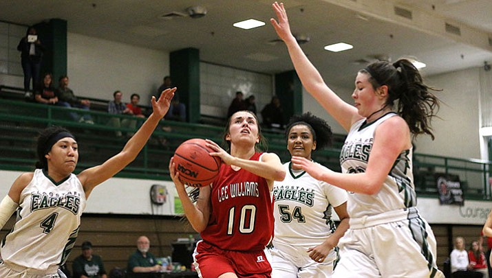 Madison Arave finished with four points in her final game with the Lady Vols Tuesday night in Flagstaff. Lee Williams dropped a 57-22 loss to the third-seeded Lady Eagles.