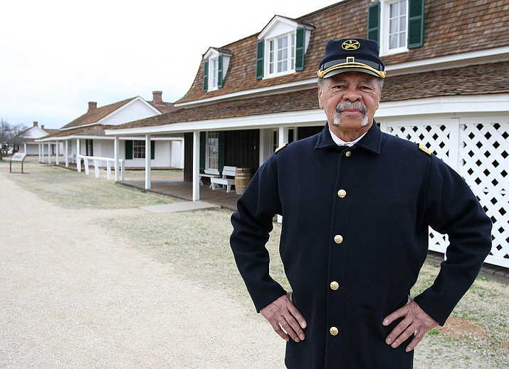 Camp Verde resident Ed Lee portrays former slave Henry O. Flipper, who graduated from West Point in 1877. Flipper was the first African American to graduate from West Point. (Photo by Bill Helm)