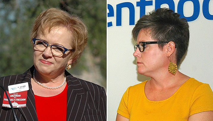 Left, Cathi Herrod, president of the anti-abortion Center for Arizona Policy. Right, Sen. Katie Hobbs, D-Phoenix. (Howard Fischer/Captiol Media Services, file photos)