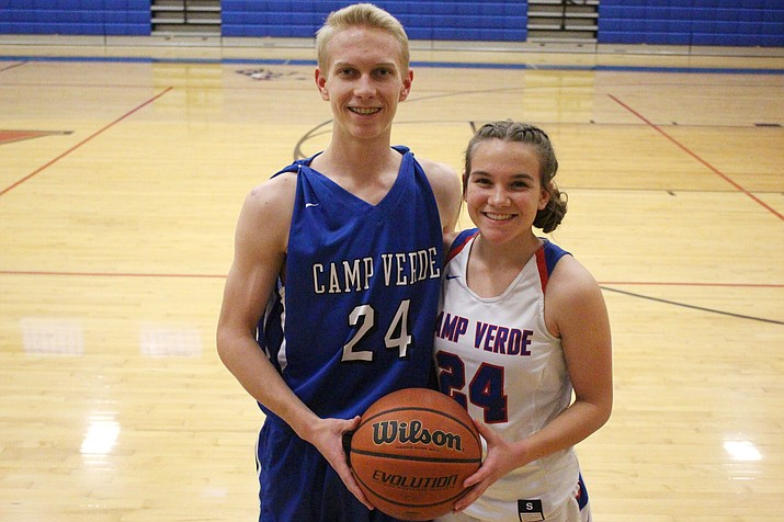 Camp Verde senior Chase Decker (left) and sophomore Tanna Decker shared a number this year and prominence in the Cowboys' back court  (VVN/James Kelley)