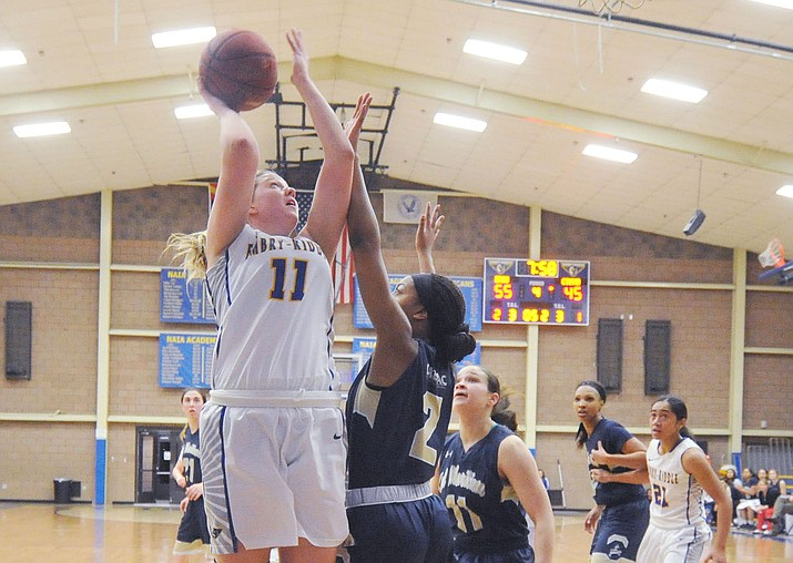 Embry Riddle's Katana Martina (11) goes up for a bucket as the Eagles hosted UC-Maritime on Feb. 1, 2018, in Prescott. Martina scored 18 points and grabbed five rebounds in a 59-55 loss to Antelope Valley on Thursday, Feb. 15, 2018, in Lancaster, California. (Les Stukenberg/Courier, File)