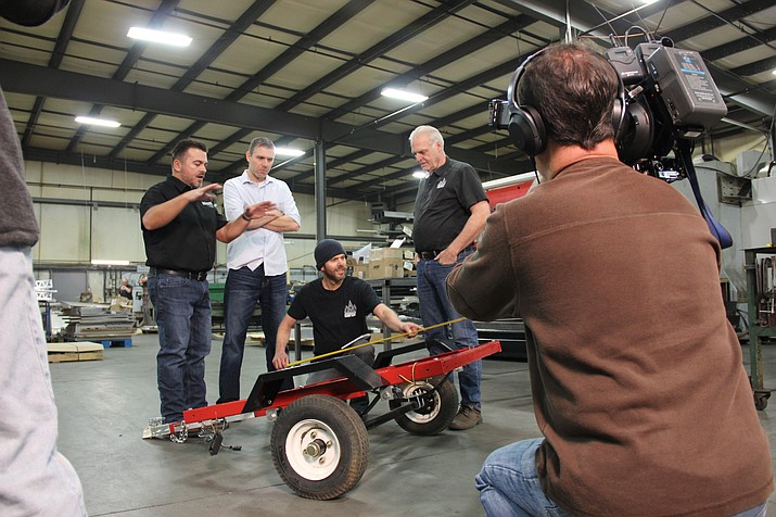 "Bobby Raber, left, Jared Aurich, Jesse Aurich and Dale Aurich are stars of a reality television series being filmed in Prescott. The show, ""American Metal,"" is launching in April on the Velocity channel. (Max Efrein/Courier)"