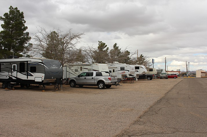 RVs, campers and fifth-wheelers are parked at Zuni Village RV Park, 2840 Airway Ave., where one of the residents was fatally shot by Kingman police Saturday night.