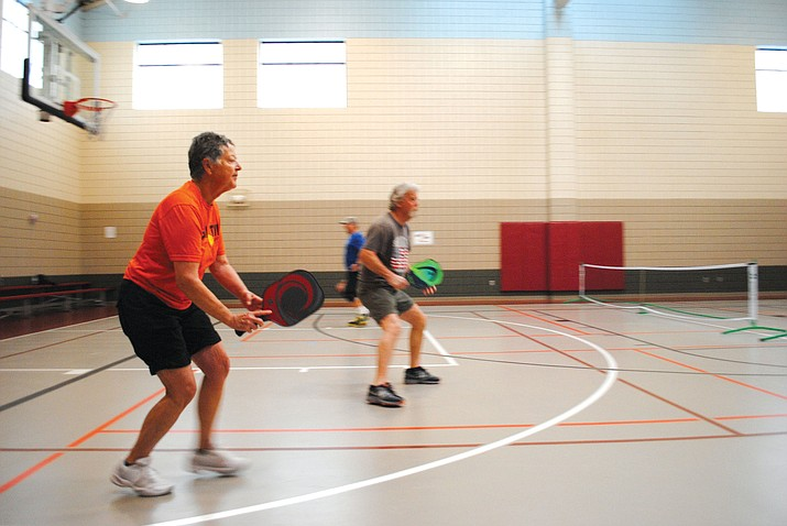 Pickleball enthusiast Terri Clements plays a game at the Cottonwood Recreation Center Wednesday morning. (VVN/Jennifer Volpe)