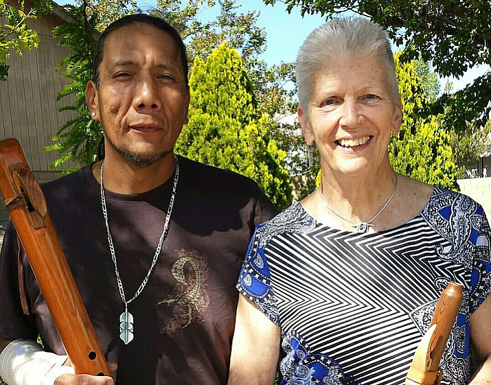 Michael Goodluck and biologist/naturalist Sue Daniel with flutes. (Courtesy)