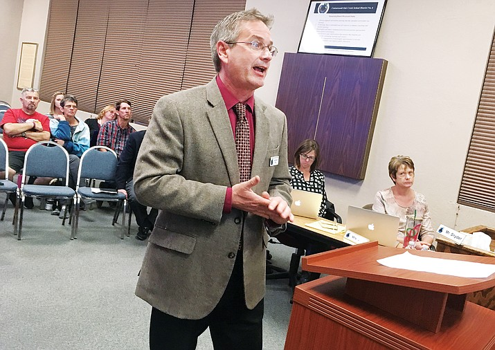 Tuesday, Cottonwood-Oak Creek Superintendent Steve King will present additional information as it pertains to the district's plan to realign three schools into K-12 schools. (Photo by Bill Helm)
