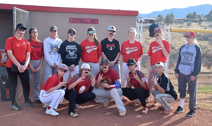 "Many Mingus softball players took part in the dress as the other gender day of spirit week.  ""We're kinda like sisters, we're like a family, we really like each other, we really have fun together, we love the game of softball,"" said junior captain Lacey Saravo.  (VVN/James Kelley)"