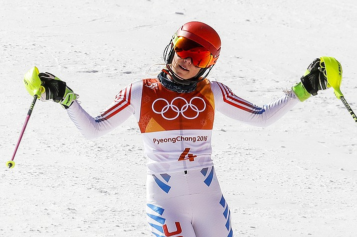 Mikaela Shiffrin, of the United States, reacts to her time during the second run of the women's slalom at the 2018 Winter Olympics in Pyeongchang, South Korea, Friday, Feb. 16, 2018.