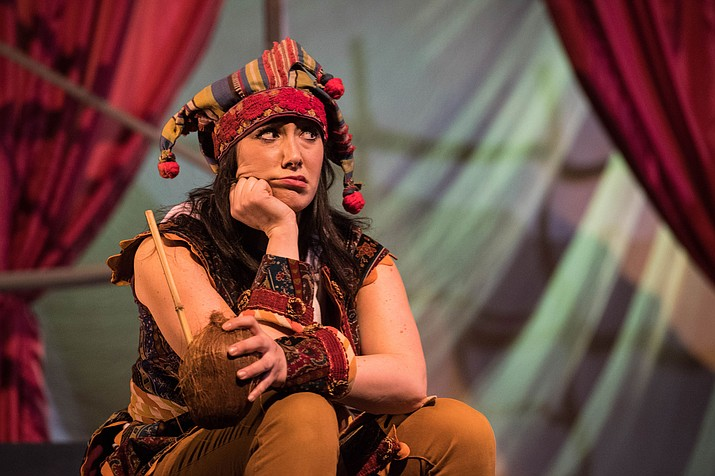 Stefanie Resnick as Trincula in the Utah Shakespeare Festival's 2018 Shakespeare-in-the-Schools production of The Tempest.