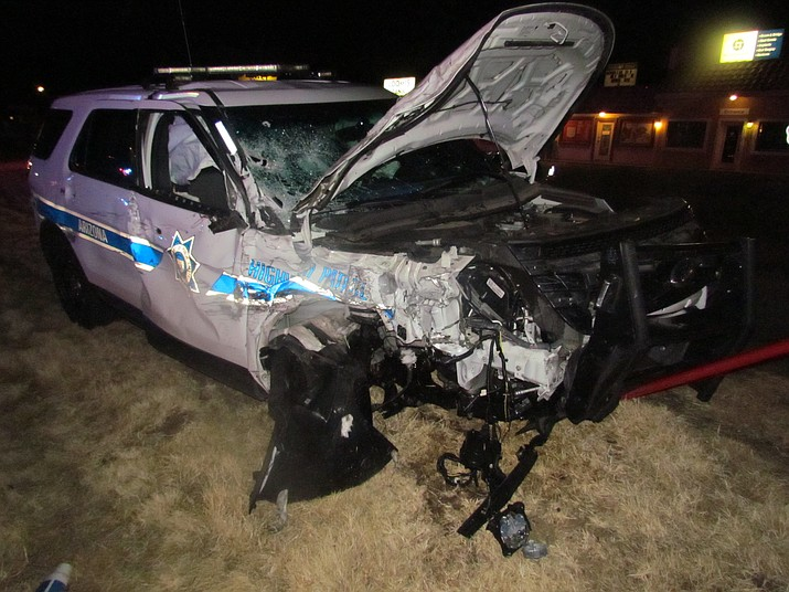 An Arizona Department of Public Safety trooper's vehicle was totaled in a serious collision with an impaired driver Sunday evening, Feb. 18. The trooper was transported to a local hospital with non-life-threatening injuries. (PVPD)