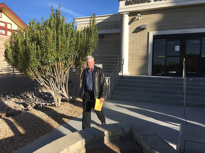 "William Glen ""Bill"" Sanders leaves the Mohave County Superior Courthouse after an appearance in February 2017. Sanders pleaded guilty to concealment of a dead body in the Sid Cranston Jr. murder case Friday. (Daily Miner file photo)"