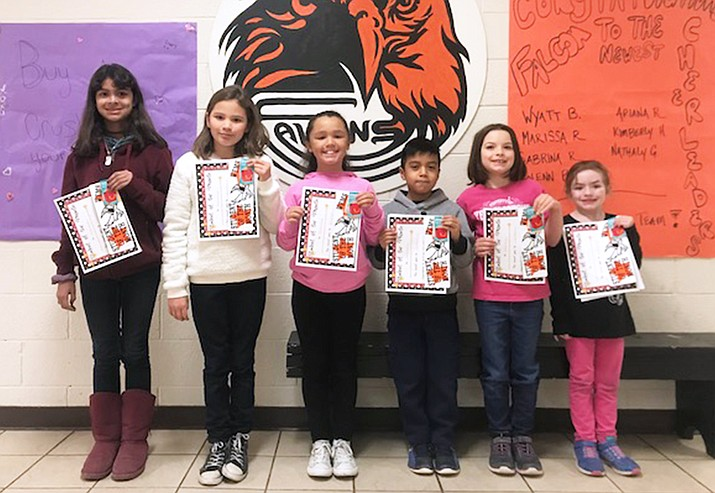 Shaleeya Bivens, Jaiden Rojeski, Brooklyn Busch, Jordan Salazar, Jordan Barresse and Elizabeth Thompson are the Williams Elementary-Middle School Students of the Month for February. (Submitted photo)