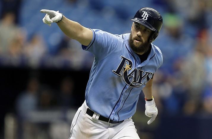 In this Aug. 6, 2017 file photo, Tampa Bay Rays' Steven Souza Jr. celebrates after his walk off home run in St. Petersburg, Fla. Souza was dealt to the Arizona Diamondbacks in a three-team deal Tuesday, Feb. 20, 2018. (Chris O'Meara/AP, File)